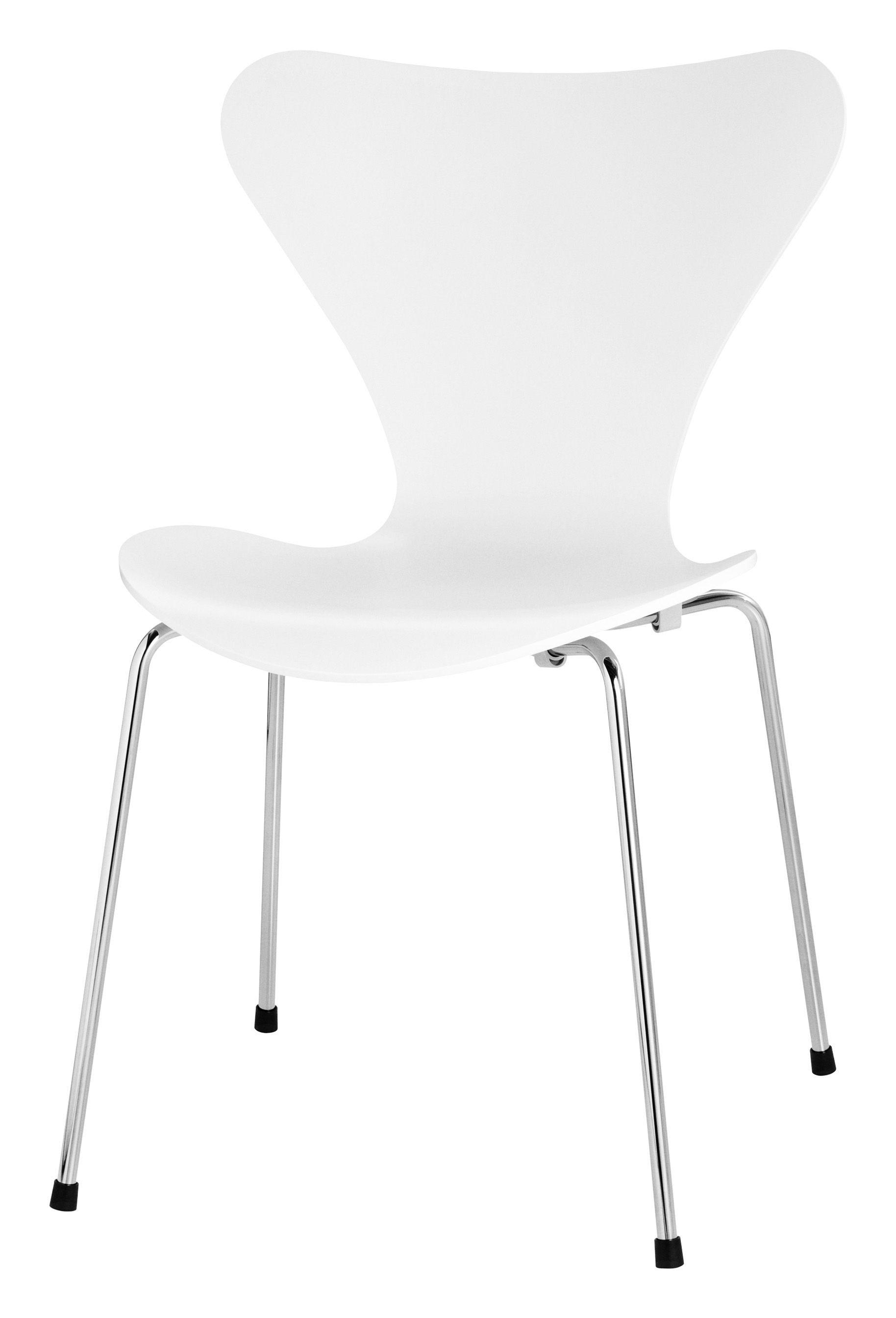 Möbel - Stühle  - Série 7 Stapelbarer Stuhl Esche - Fritz Hansen - Weiß gefärbte Esche - Esche, Stahl