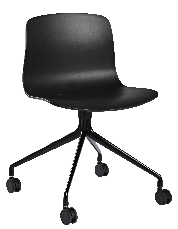 Stuhl mit Rollen About a chair AAC14 von Hay Schwarz