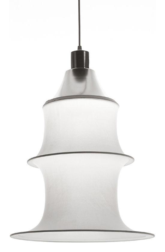 Luminaire - Suspensions - Suspension Falkland H 53 cm - Danese Light - Blanc - version non ignifuge - Acier, Tissu élastique