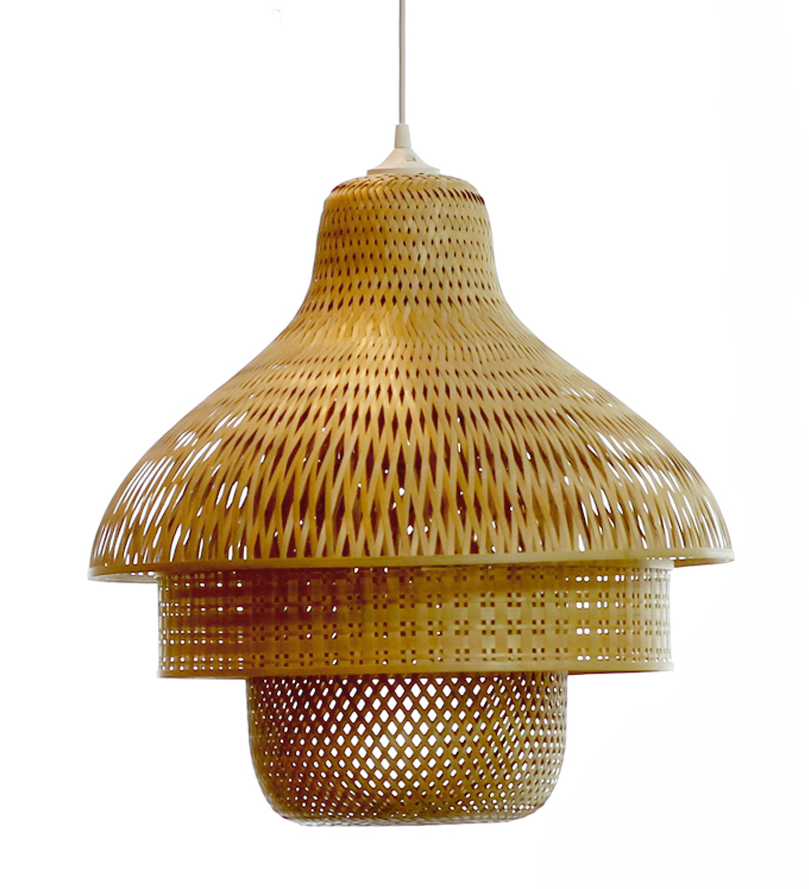 Suspension Hanoi Pop Corn - Bambou - L 80 x h 50 x Ø 50 | Made In Design