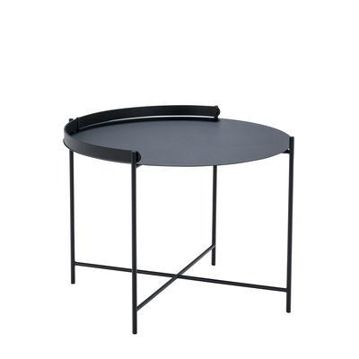 Table basse Edge / Poignée rabattable -Ø 62 x H 46 cm - Houe noir en métal