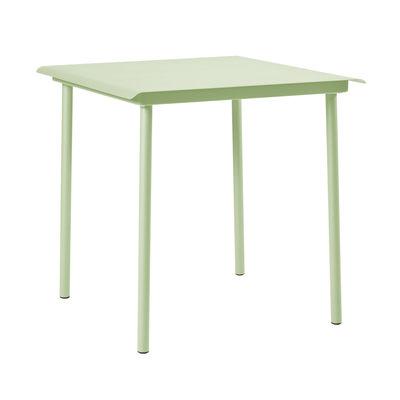 Table carrée Patio Café / Inox - 75 x 75 cm - Tolix vert anis en métal