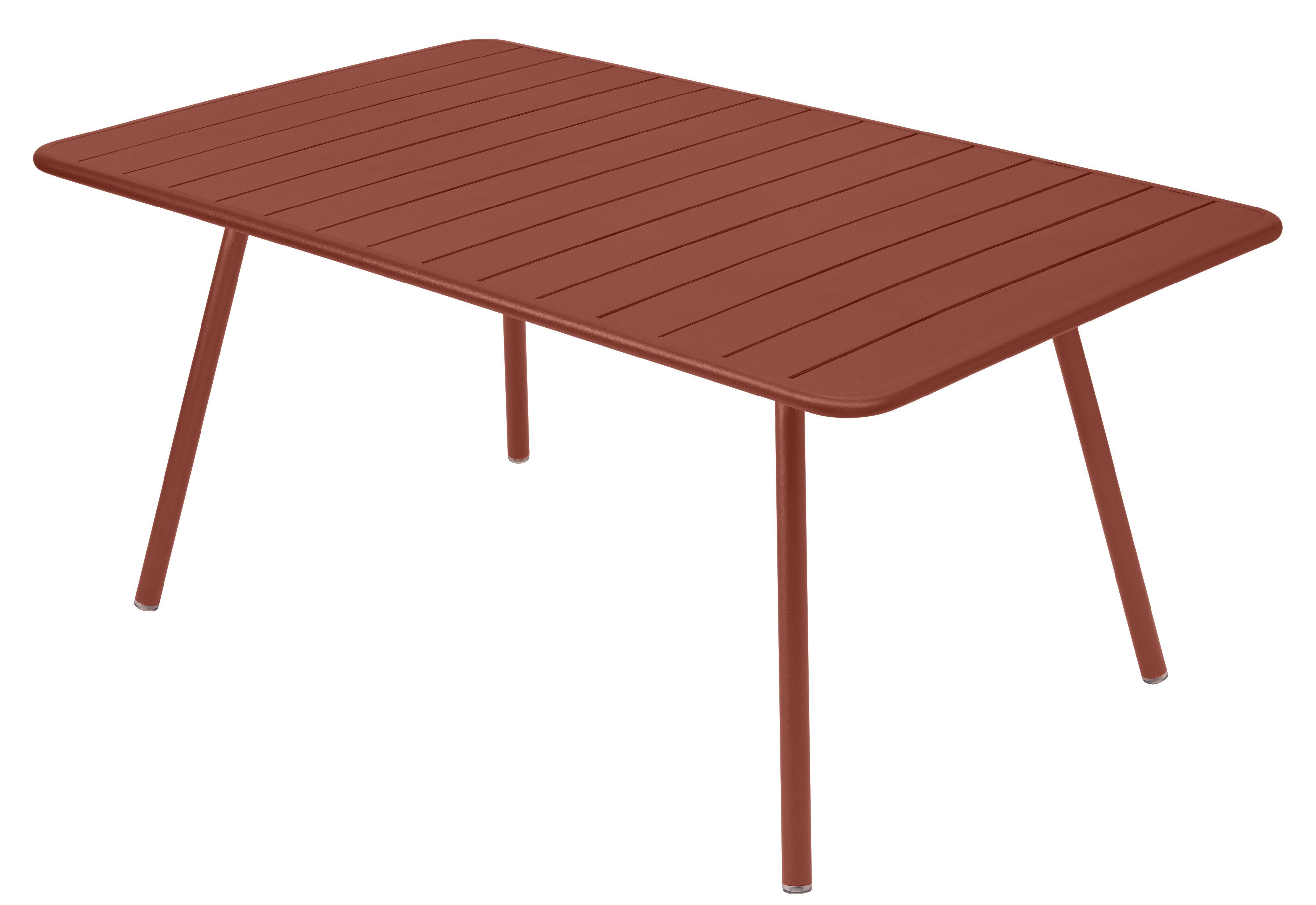 Outdoor - Tables de jardin - Table rectangulaire Luxembourg / 6 à 8 personnes - 165 x 100 cm - Fermob - Ocre rouge - Aluminium laqué