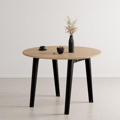 Mobilier - Tables - Table ronde New Modern / Ø 110 cm - Chêne éco-certifié / 4 à 6 personnes - TIPTOE - Noir Graphite - Acier thermolaqué, Sapin massif plaqué chêne