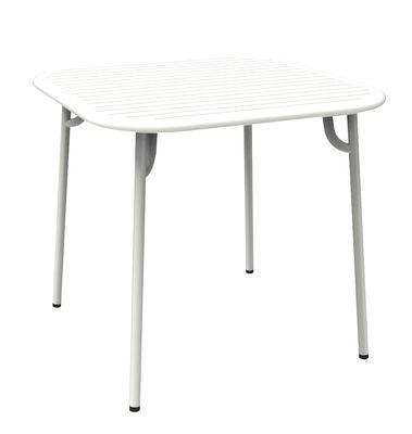 Table Week-end / 85 x 85 cm - Aluminium - Petite Friture blanc en métal