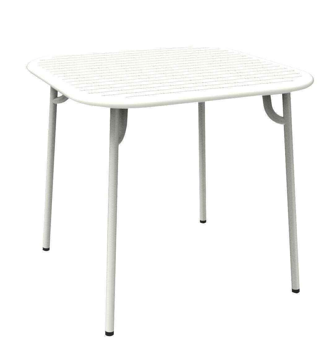 Jardin - Tables de jardin - Table Week-end / 85 x 85 cm - Aluminium - Petite Friture - Blanc - Aluminium thermolaqué époxy