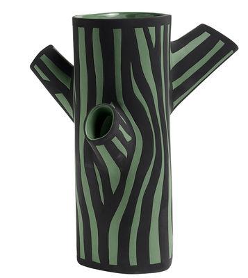 Dekoration - Vasen - Tree Trunk Medium Vase / H 30 cm - Handbemalt - Hay - Dunkelgrün - Sandstein