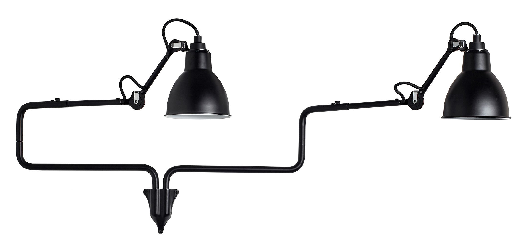 Lighting - Wall Lights - N° 303  Double Wall light - Lampe Gras by DCW éditions - Black satin - Aluminium, Steel
