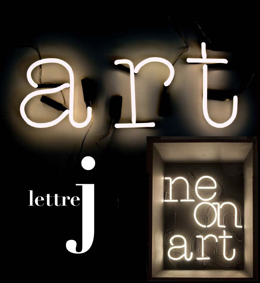 Leuchten - Wandleuchten - Neon Art Wandleuchte mit Stromkabel Buchstabe J - Seletti - Weiß / schwarzes Kabel - Glas