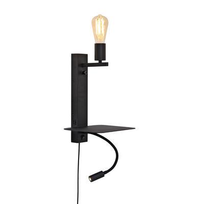 Applique avec prise Florence / Liseuse LED, étagère & port USB - It's about Romi noir en métal