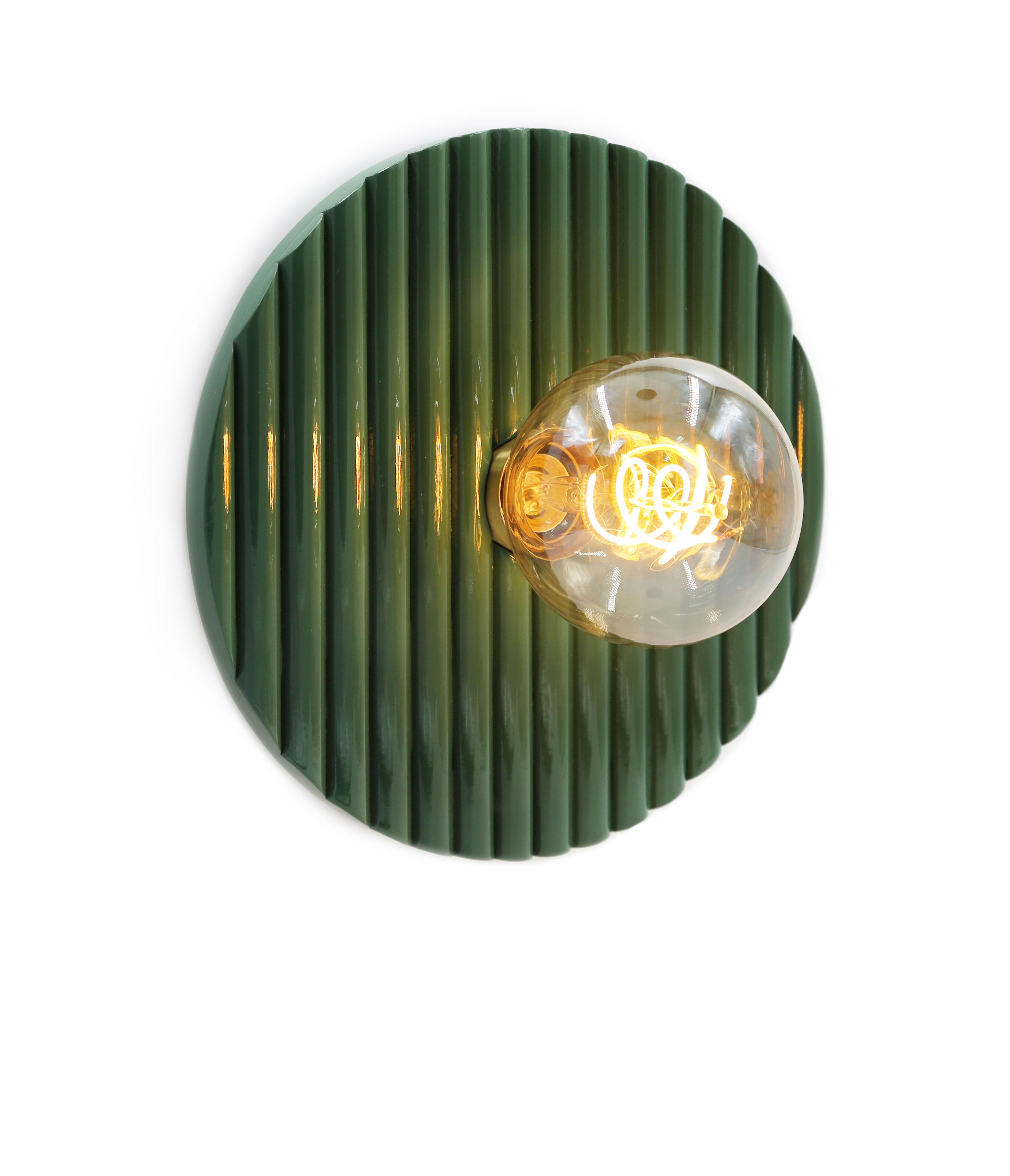Luminaire - Appliques - Applique Riviera / Bois - Ø 25 cm - Maison Sarah Lavoine - Vert - Rotin laqué