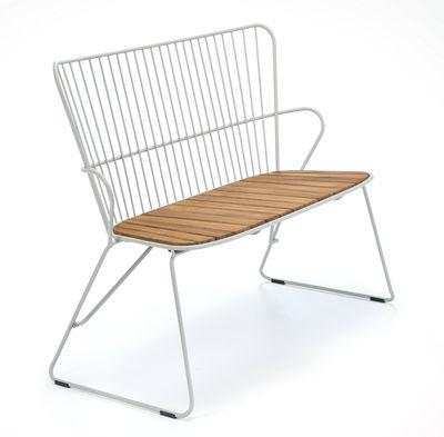Banc Paon / L 116 cm - Métal & bambou - Houe beige/bois naturel en métal/bois