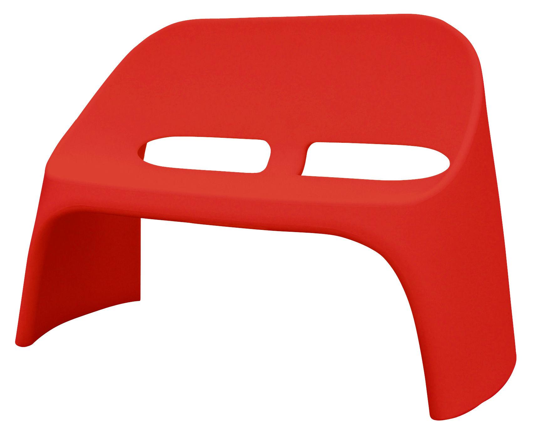 Möbel - Bänke - Amélie Bank mit Rückenlehne 2-Sitzer - Slide - Rot - polyéthène recyclable