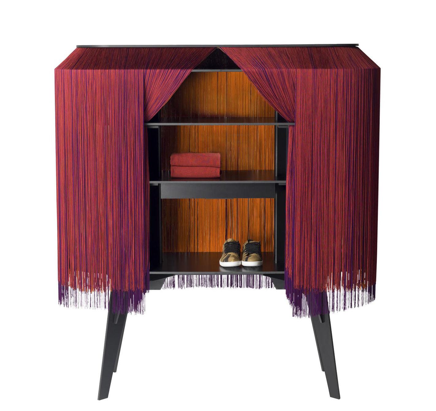Möbel - Beistell-Möbel - Alpaga Bar / Sideboard - L 140 cm - limitierte und nummerierte Auflage - Ibride - Feuer & Flamme / rot - massive Press-Spanplatte, Viscose