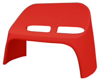Furniture - Benches - Amélie Bench with backrest - 2 seats by Slide - Red - recyclable polyethylene