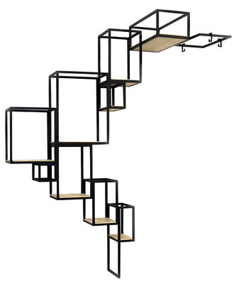 Furniture - Bookcases & Bookshelves - Jointed Bookcase - Wall -  152 x 115 cm by Serax - Black / Wood - Metal, Wood