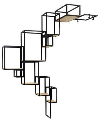 Möbel - Regale und Bücherregale - Jointed Bücherregal / Wandregal - 152 x 115 cm - Serax - Schwarz / holzfarben - Holz, Metall