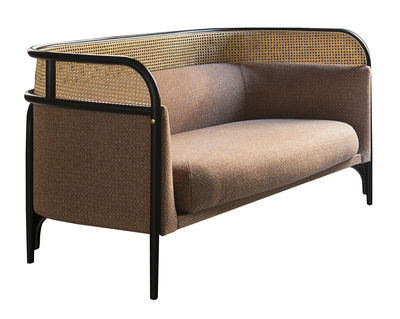 Canapé droit Targa 3 places L 200 cm Cannage tissu Wiener GTV Design noir,rose pâle,paille naturelle en tissu
