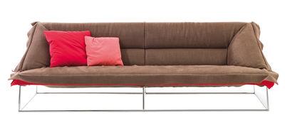 Mobilier - Canapés - Canapé droit Volant / 3 places - L 225 cm - Moroso - L 225 cm - Marron / Revers rouge - Acier chromé, Coton