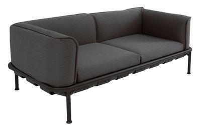 Arredamento - Divani moderni - Divano Dock / L 195 - Tessuto - Emu - Grigio scuro / Struttura nera - alluminio verniciato, Schiuma di poliuretano, Tessuto Batyline