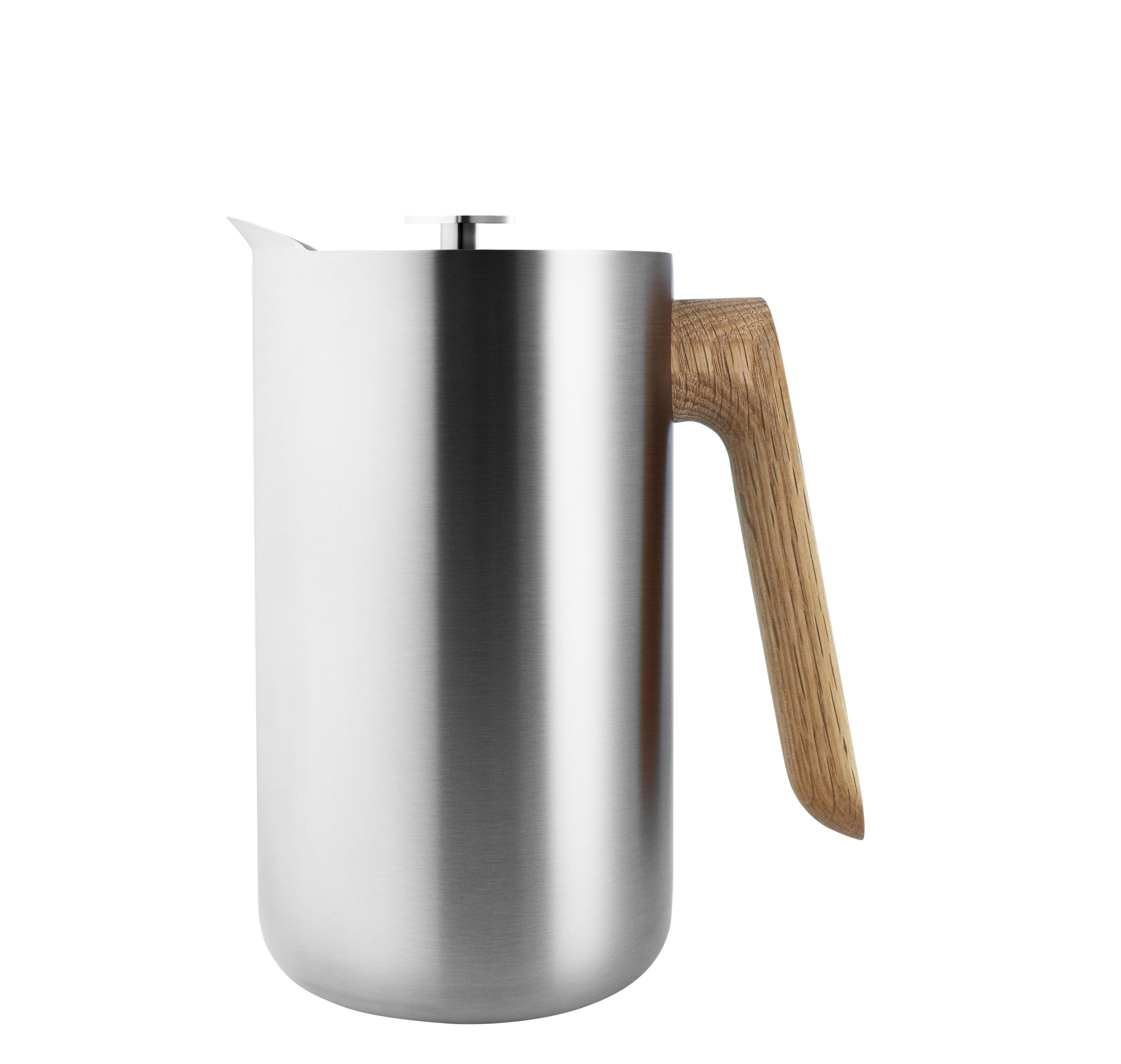 Tischkultur - Tee und Kaffee - Nordic Kitchen Druckkolben-Kaffeemaschine / Thermoskanne - 1 l - Eva Solo - Edelstahl / Eiche - Eiche, rostfreier Stahl