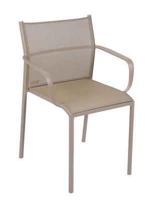 Mobilier - Chaises, fauteuils de salle à manger - Fauteuil empilable Cadiz / Empilable - Toile - Fermob - Muscade - Aluminium laqué, Toile Batyline®