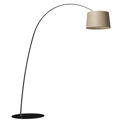 Lighting - Floor lamps - Twiggy Wood LED Floor lamp - / Bleached maple - H 195 to 215 cm by Foscarini - Black / bleached maple - Bleached maple, Composite material, Fibreglass, Lacquered metal