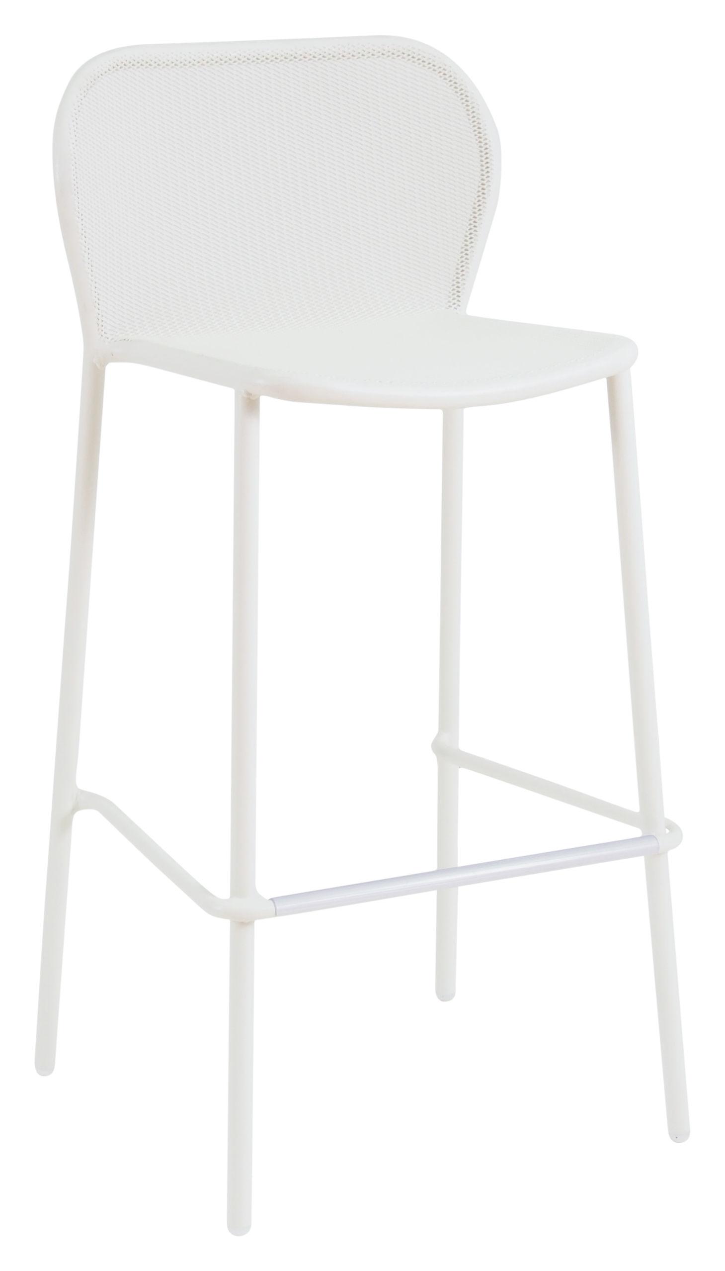 Möbel - Barhocker - Darwin Hochstuhl / H 75 cm - Metall - Emu - Weiß - gefirnister Stahl
