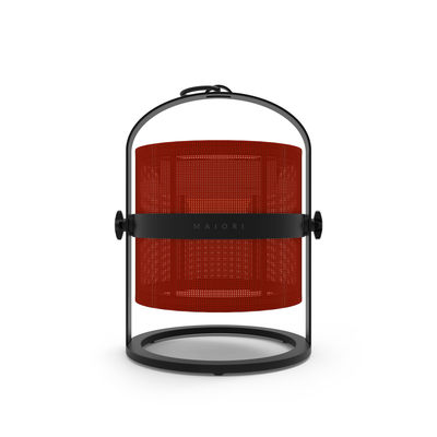 Lampe solaire La Lampe Petite LED / Hybride & connectée - Structure charbon - Maiori rouge/noir en métal/tissu