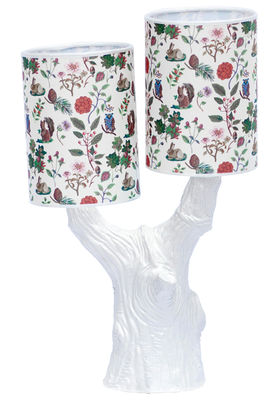 Leuchten - Tischleuchten - Y&M Lampe / ohne Lampenschirm - Domestic - Baumstamm blau / ohne Lampenschirm - emailliertes Terrakotta