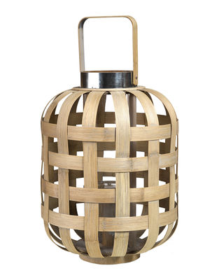 Déco - Bougeoirs, photophores - Lanterne Strip Classic / Bambou - Ø 31 x H 43 cm - Pols Potten - Classic / Bambou - Bambou, Verre