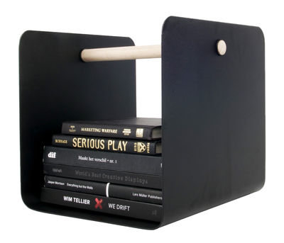 Decoration - Boxes & Baskets - Flow Magazine holder by XL Boom - Black - Natural wood, Painted steel