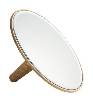 Miroir Barb Large / Ø 26 cm - à poser ou accrocher au mur - Woud bois naturel en bois