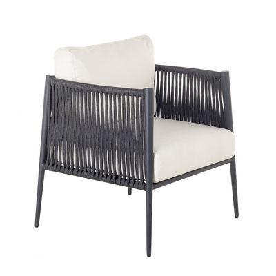 Furniture - Armchairs - Luce Padded armchair - / Hand-braided cord by Unopiu - Ecru white / Grey - Acrylic fabric, Aluminium, Foam, Synthetic fibre
