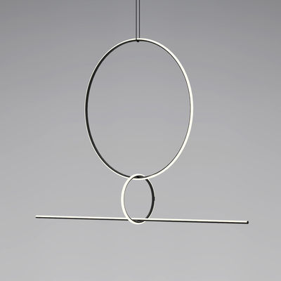 Arrangements 3 LED Pendelleuchte / 3 Elemente - H 140 cm x L 170 cm - Flos - Weiß,Schwarz