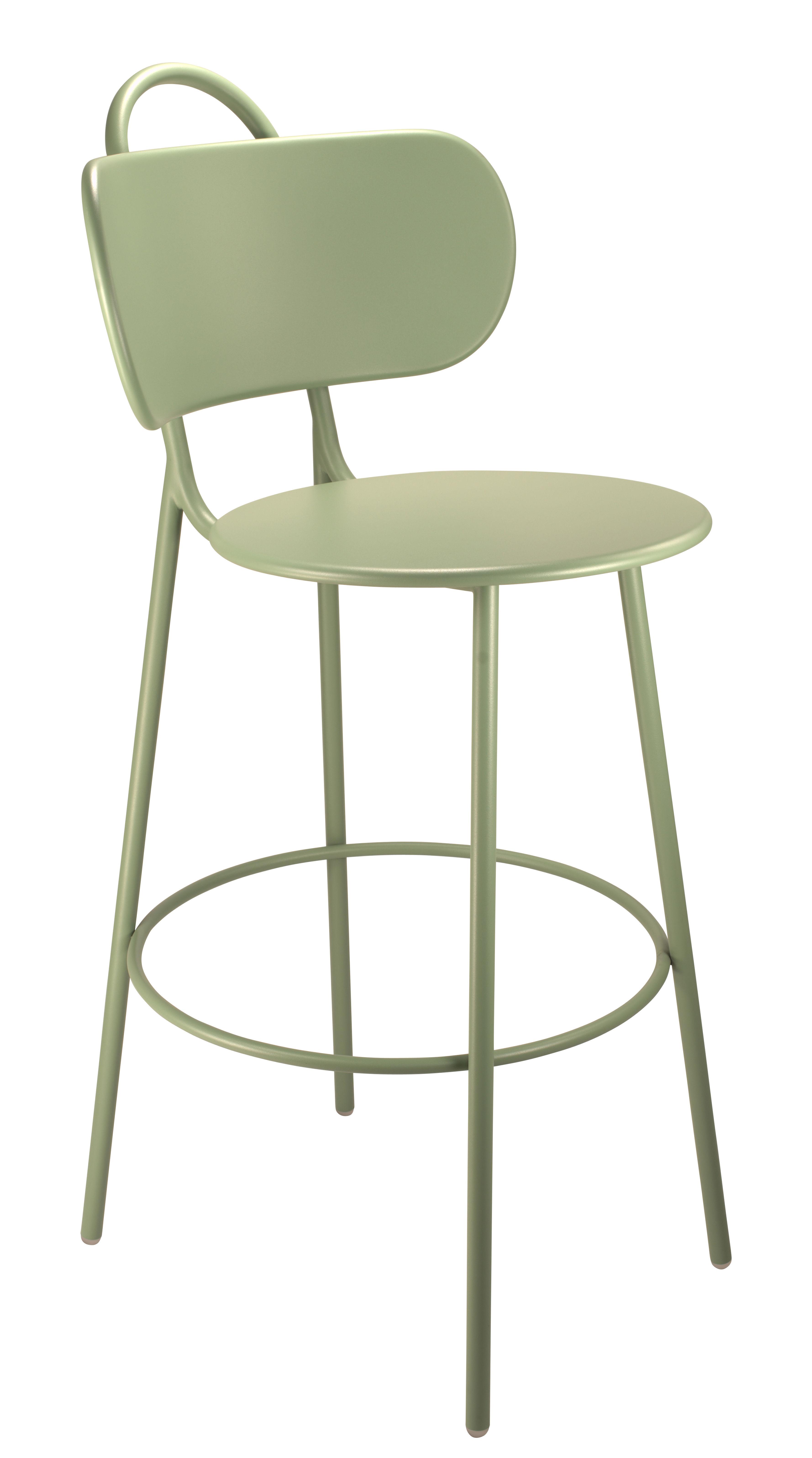 Arredamento - Sgabelli da bar  - Sedia da bar Swim - / Per l'interno & l'esterno - H 74 cm di Bibelo - Verde chiaro - Acciaio laccato epossidico