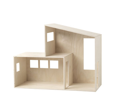 Furniture - Bookcases & Bookshelves - Funkis Small Shelf - / Doll house - L 47 x H 36 cm by Ferm Living - Small / Wood - Natural plywood