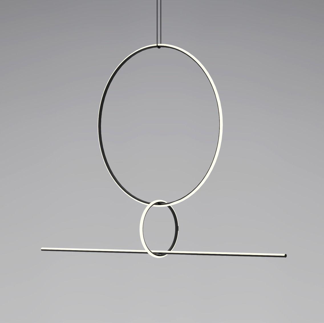 Illuminazione - Lampadari - Sospensione Arrangements 3 LED - / 3 elementi - H 140 x L 170 cm di Flos - Bianco & Nero - alluminio verniciato, policarbonato
