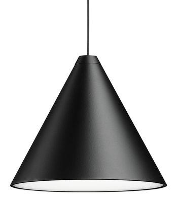 Illuminazione - Lampadari - Sospensione String Light Cone - LED / Cavo decorativo da 12 metri di Flos - Sospensione Cono / Nero - alluminio verniciato, policarbonato, Tessuto