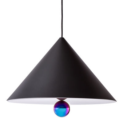 Luminaire - Suspensions - Suspension Cherry / Large - Ø 50 cm - Petite Friture - Noir / Sphère bleutée - Aluminium, Plastique, Plexiglas, Tissu