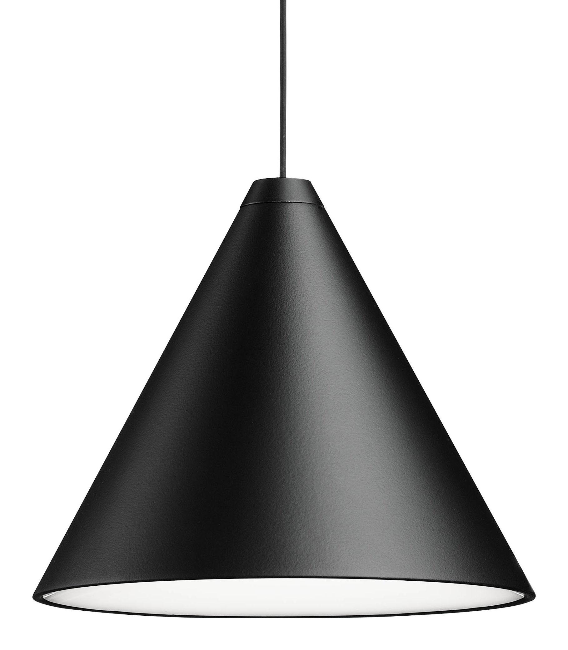 Luminaire - Suspensions - Suspension String Light Cone LED / Câble décoratif de 12 mètres - Flos - Suspension Cône / Noir - Aluminium peint, Polycarbonate, Tissu