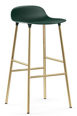 Tabouret de bar Form / H 75 cm - Pied laiton - Normann Copenhagen vert,laiton en métal