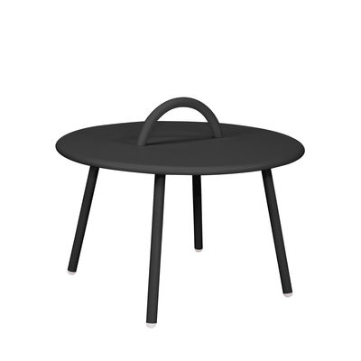 Image of Tavolino Swim Lounge - / 1 maniglia - Ø 51 x H 30 cm di Bibelo - Nero - Metallo