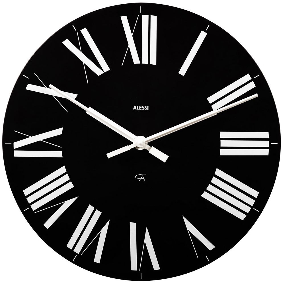 Decoration - Wall Clocks - Firenze Wall clock by Alessi - Black & white - ABS