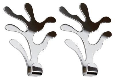 Furniture - Coat Racks & Pegs - Mediterraneo Wall hook - Set of 2 by Alessi - Mirror polished - Stainless steel