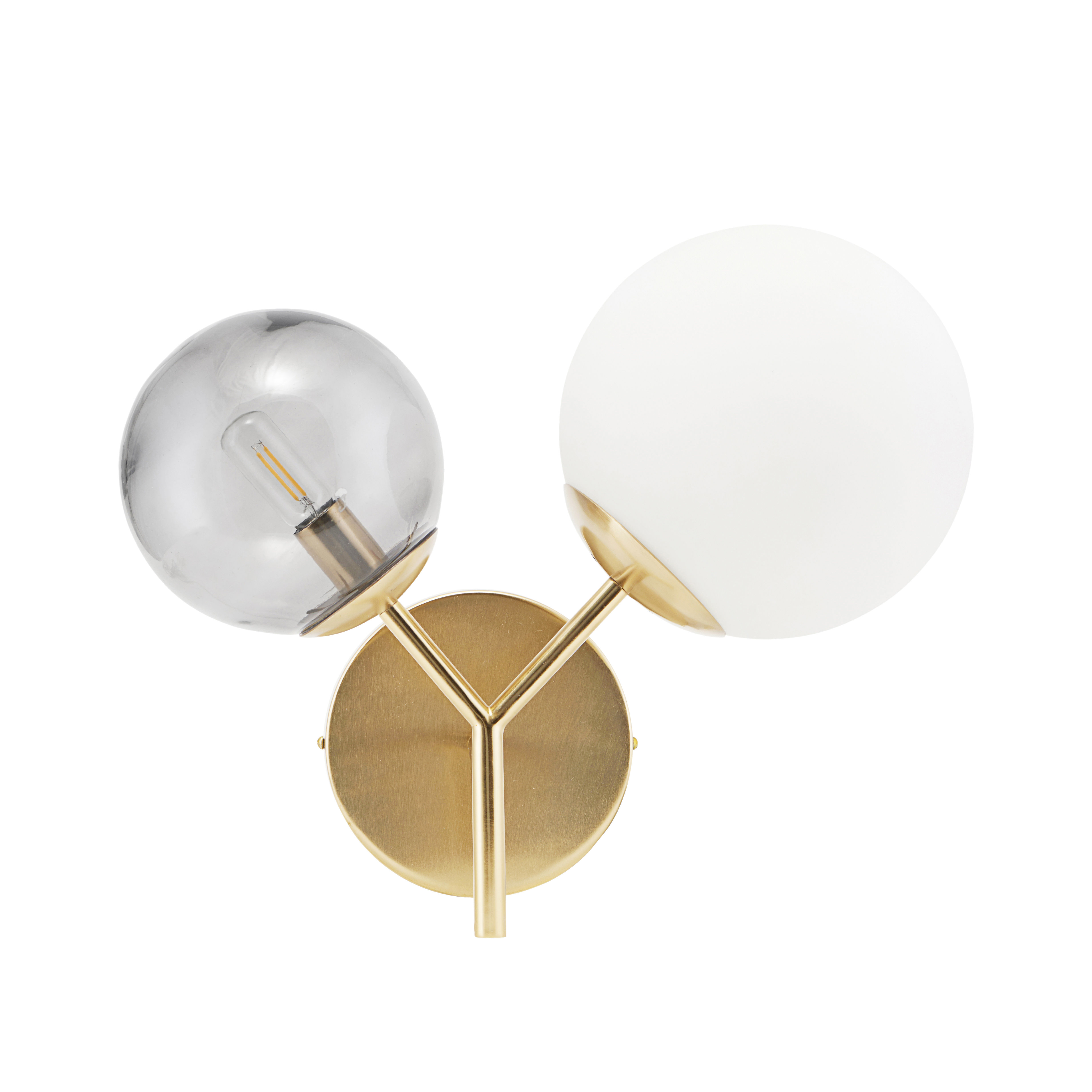 Lighting - Wall Lights - Twice Wall light with plug - / Metal & glass - L 50 cm by House Doctor - White & grey / Brass - Blown glass, Iron