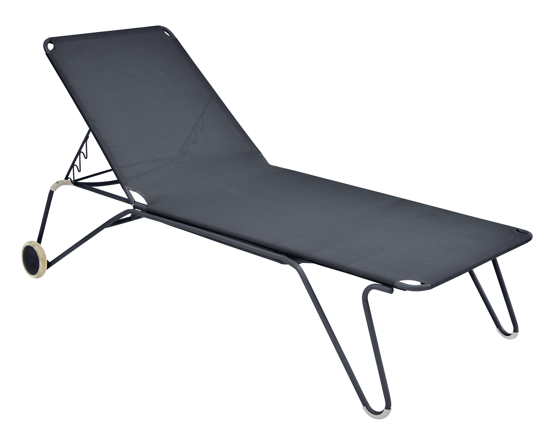 Outdoor - Chaises longues et hamacs - Bain de soleil Harry / 4 positions - Roues - Fermob - Carbone - Acier peint, Toile