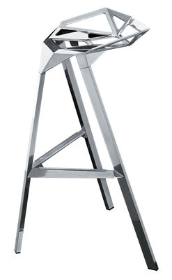 Furniture - Bar Stools - Stool One Bar stool - H 67 cm - Polished alu by Magis - Polished aluminium - Aluminium