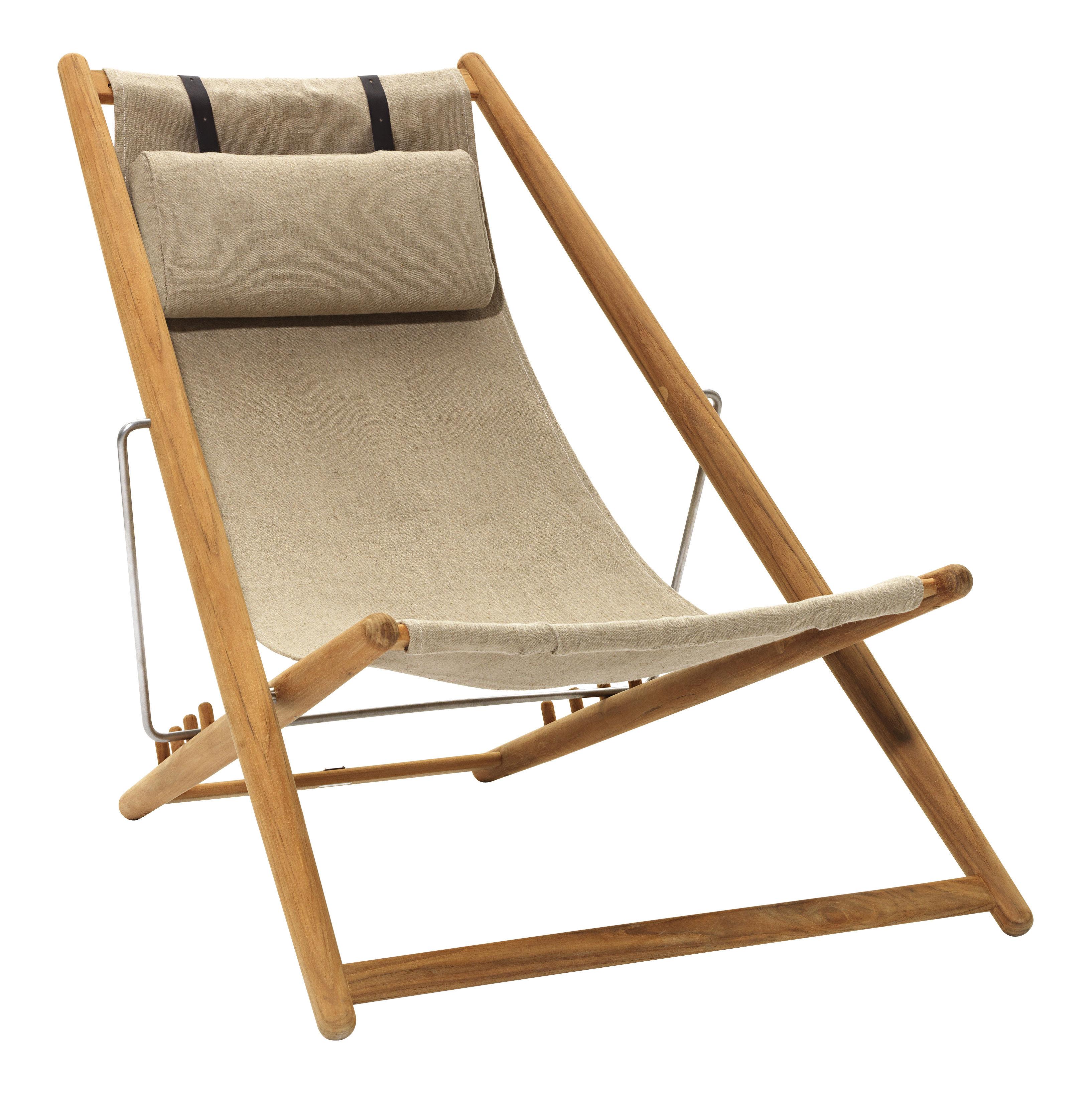 Outdoor - Chaises longues et hamacs - Chaise longue H55 /Edition limitée 60 ans - Skargaarden - Teck / Beige - Teck, Toile