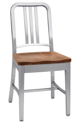 Mobilier - Chaises, fauteuils de salle à manger - Chaise Navy / Assise bois - Emeco - Noyer / Aluminium mat - Aluminium recyclé brossé, Noyer massif